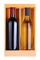 Cabernet and Chardonnay Bottles in Wood Box - PhotoDune Item for Sale