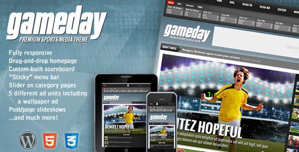 ThemeForest Gameday Wordpress Sports Media Theme 3777874