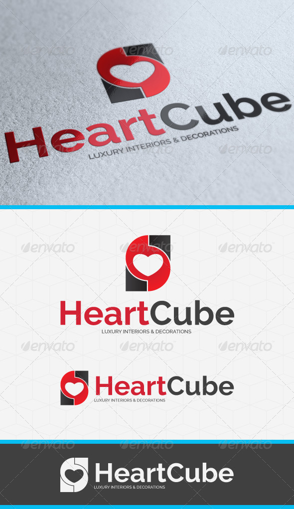 GraphicRiver Heart Cube Logo Template 3777995