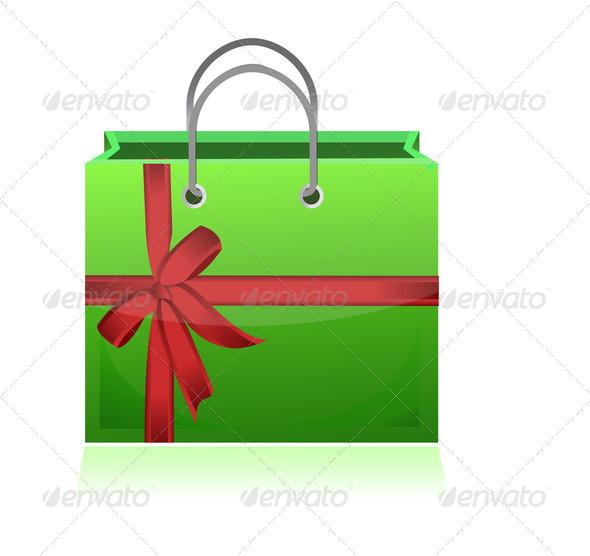 PhotoDune green gift shopping bag illustration design on white background 3794692