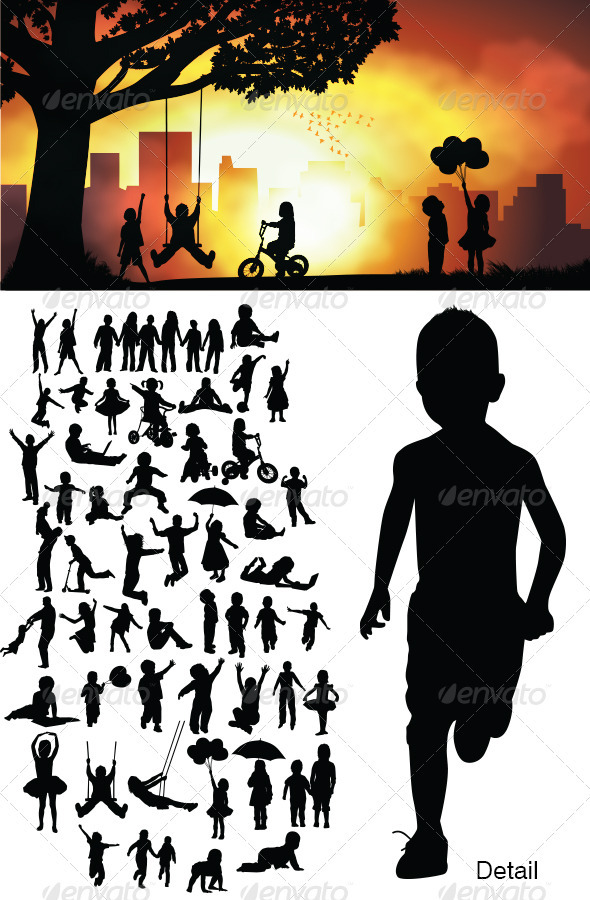 GraphicRiver Children Silhouettes 3778123