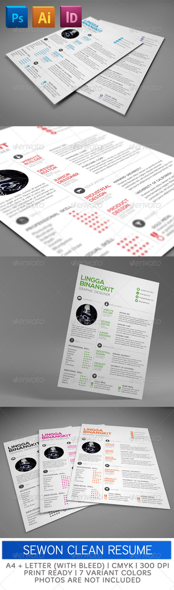 GraphicRiver Sewon Clean Resume Template 3647037
