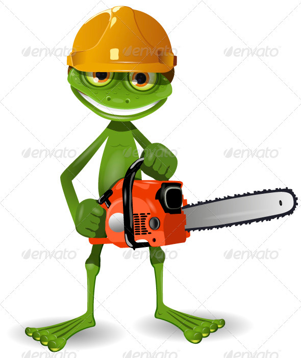 GraphicRiver Frog with a chainsaw 3778287