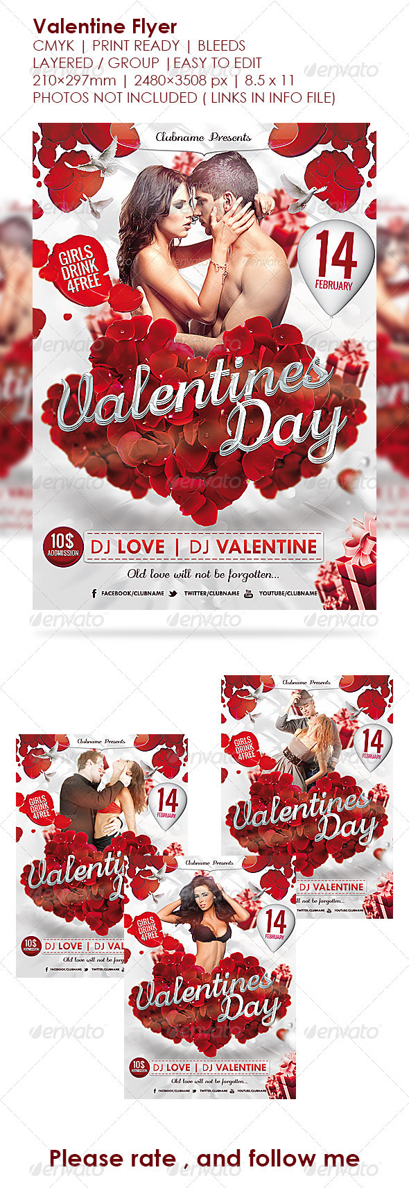 GraphicRiver Valentine s Day Flyer Valentines Poster 3725527