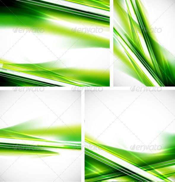 GraphicRiver Glowing Green Lines Backgrounds Set 3779725