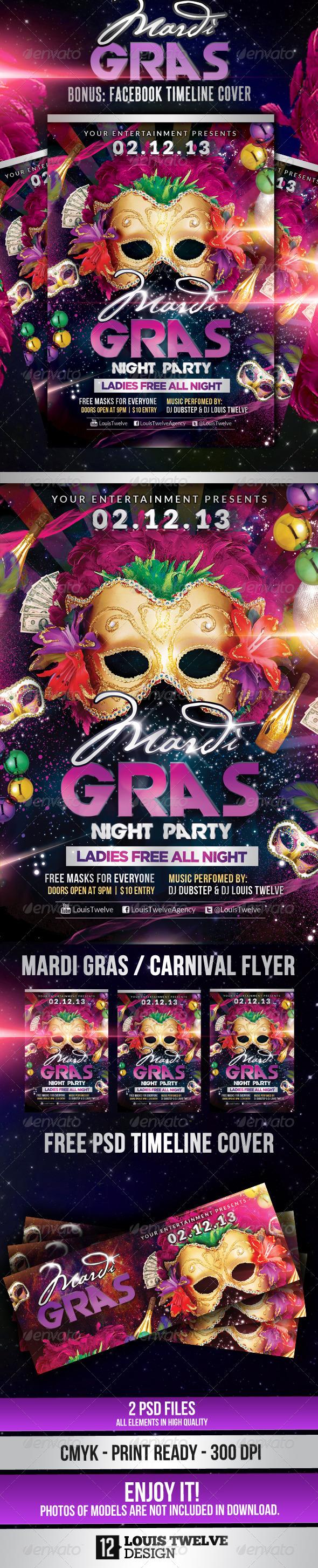 GraphicRiver Mardi Gras Carnival Party Flyer & Fb Cover 3780329