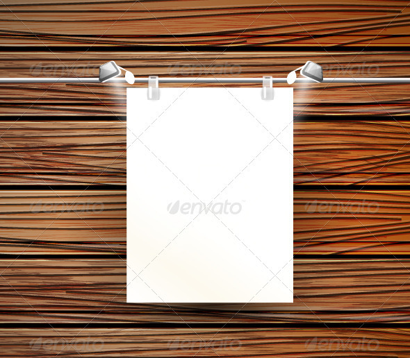 GraphicRiver Vector Picture Frame on Wooden Wall 3780735