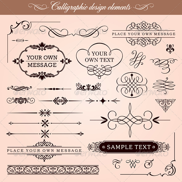 GraphicRiver Vector Calligraphic Design Elements And Frames 3781025
