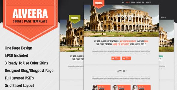 ThemeForest Alveera Single Page PSD Template 3781033