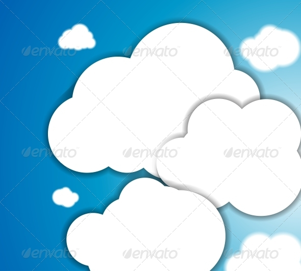 GraphicRiver White clouds in the blue clear sky Vector backgro 3781771
