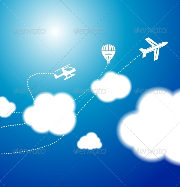 GraphicRiver White clouds in the blue clear sky Vector backgro 3781775