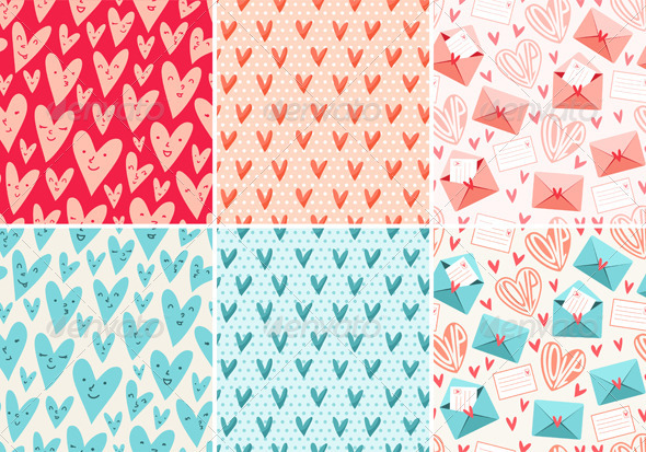 GraphicRiver Valentine s Day Patterns 3782023