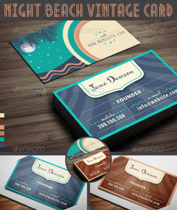 GraphicRiver Night Beach Vintage Business Card 3782387