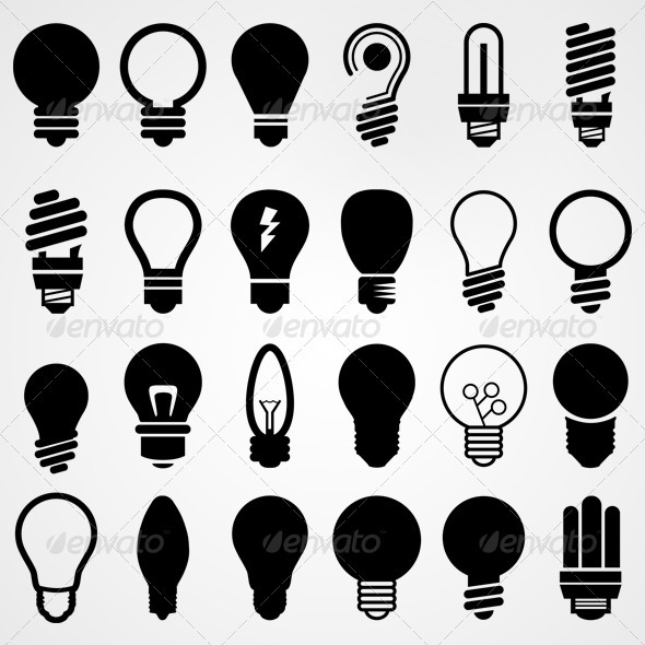 GraphicRiver Lightbulbs Silhouettes Set 3784330