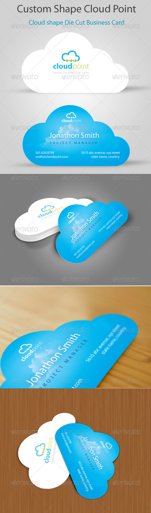 Cloud Point Custom Shape Die cut Business Card - Creative Business Cards