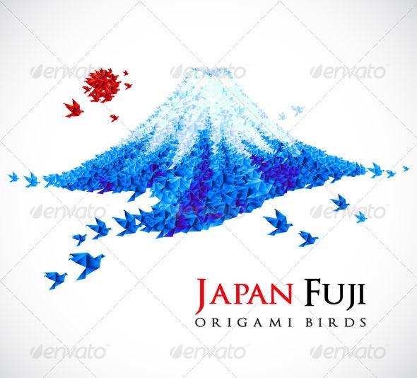 GraphicRiver Origami Fuji mount 407694