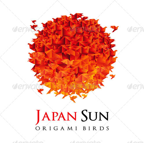 Origami - Japan Flag Red Sun
