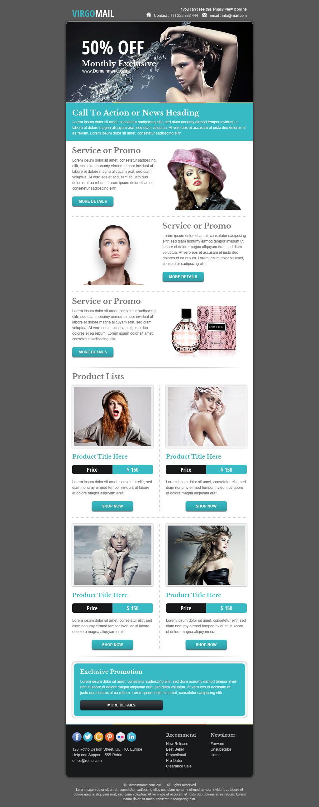 virgomail email marketing newsletter template by. Black Bedroom Furniture Sets. Home Design Ideas