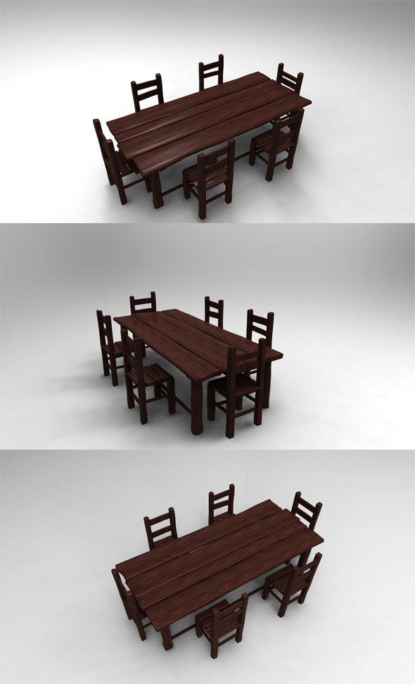 3DOcean Wood Table 407857