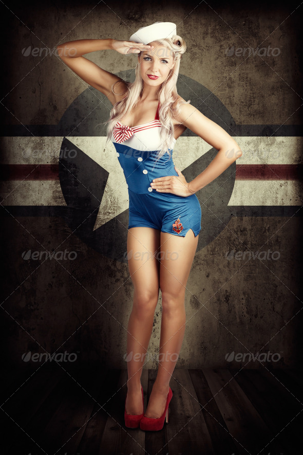 American Fashion Model in Military Pin-up Style - Stock Photo - Images