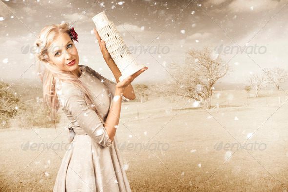 Vintage Woman Dreaming Of A Europe Travel Escape - Stock Photo - Images