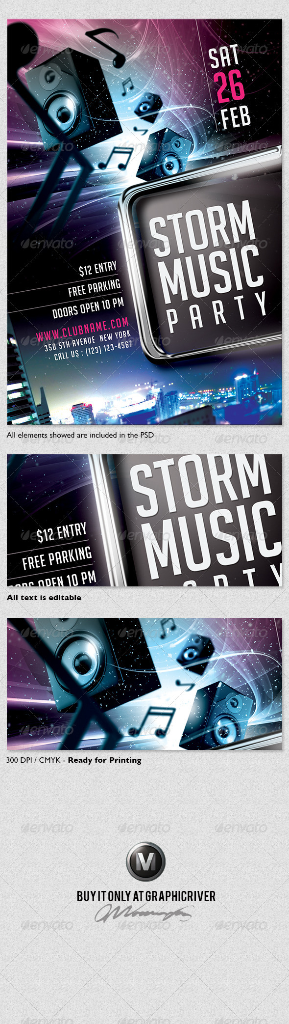 Storm Music Flyer Template - Clubs & Parties Events