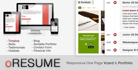 ThemeForest oRESUME Responsive Vcard & Portfolio 3707810