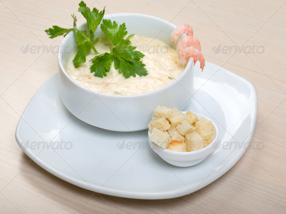 PhotoDune vegetable cream soup with prawns 3788599