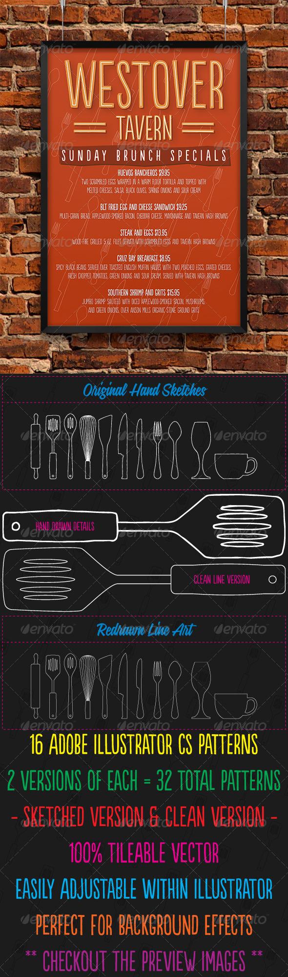 GraphicRiver 16 Sketched Vector Kitchen Utensil Patterns 3788494