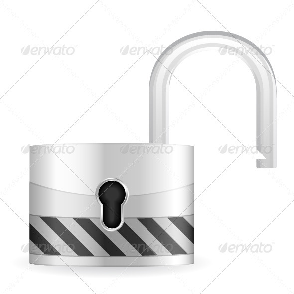 Open security padlock