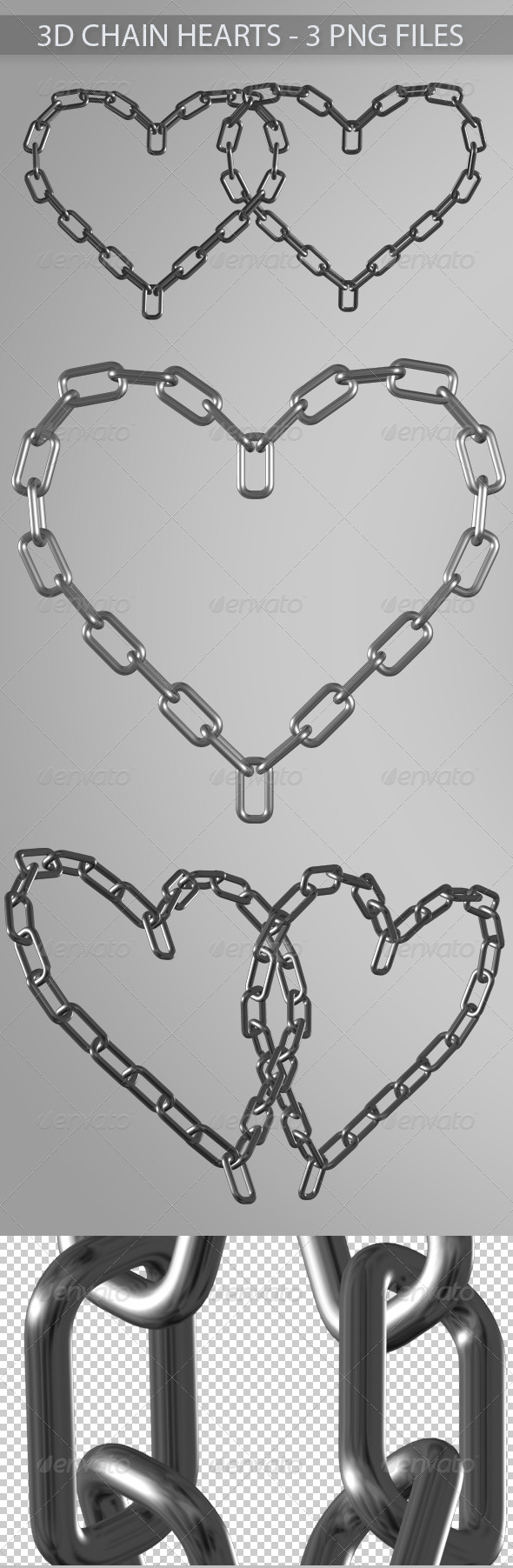 3D Chain Hearts - Objects 3D Renders
