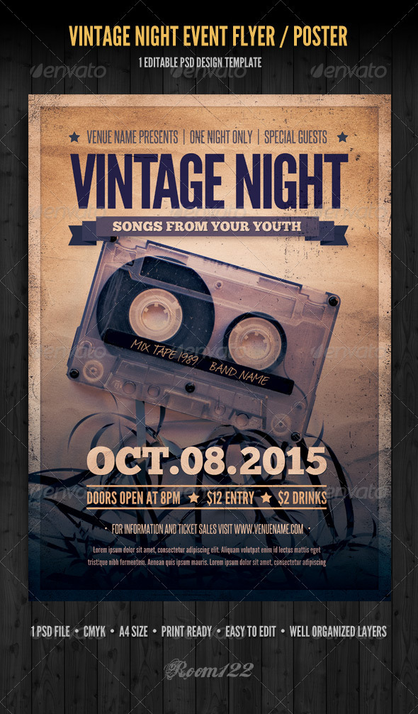 Vintage Night Event Flyer / Poster - Concerts Events
