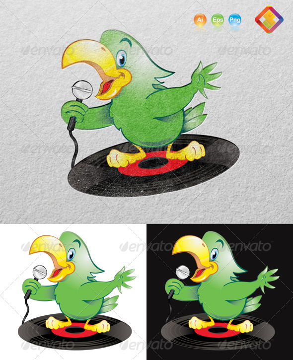 GraphicRiver Green Karaoke Parrot 3791810