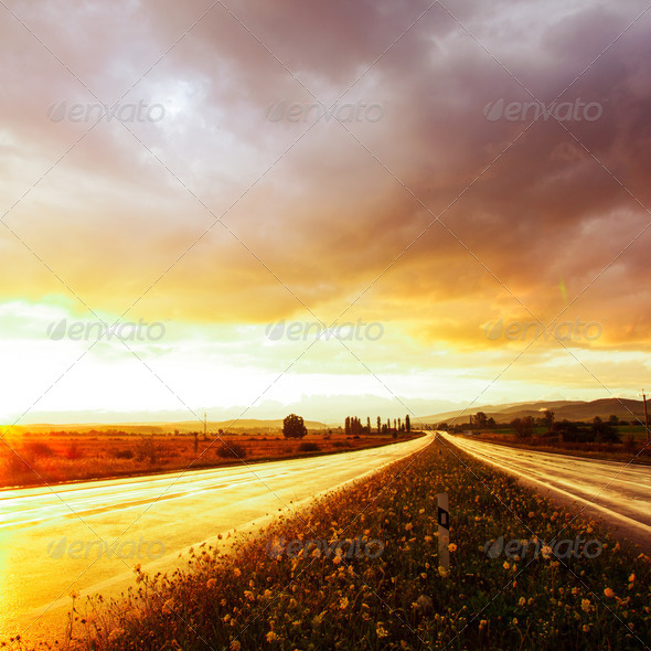Wet road and sky - Stock Photo - Images