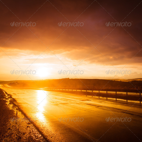 Wet road - Stock Photo - Images
