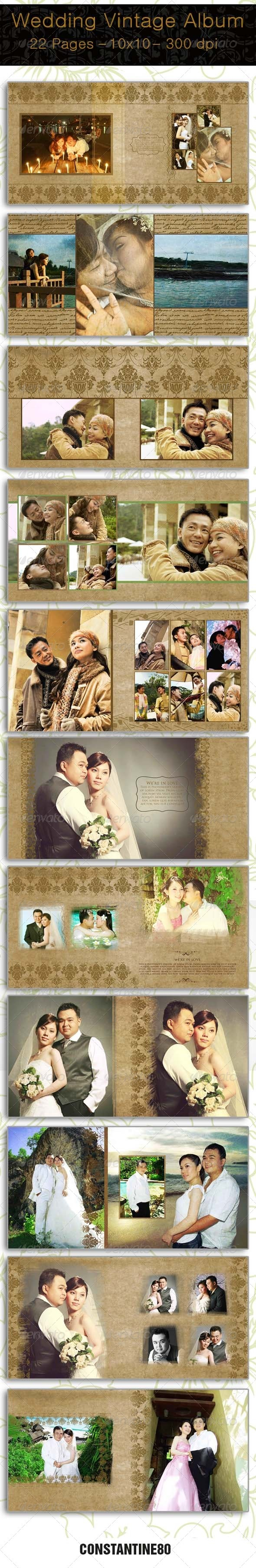 Wedding Vintage Album - Photo Albums Print Templates