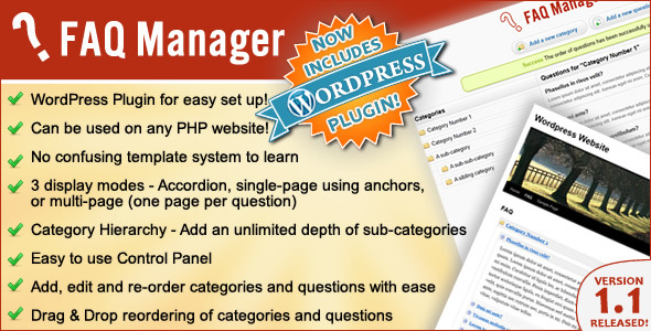 CodeCanyon FAQ Manager Standalone or integrate to Wordpress 335967
