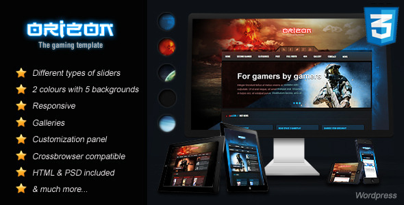 ThemeForest Orizon The Gaming Template WP version 3792360