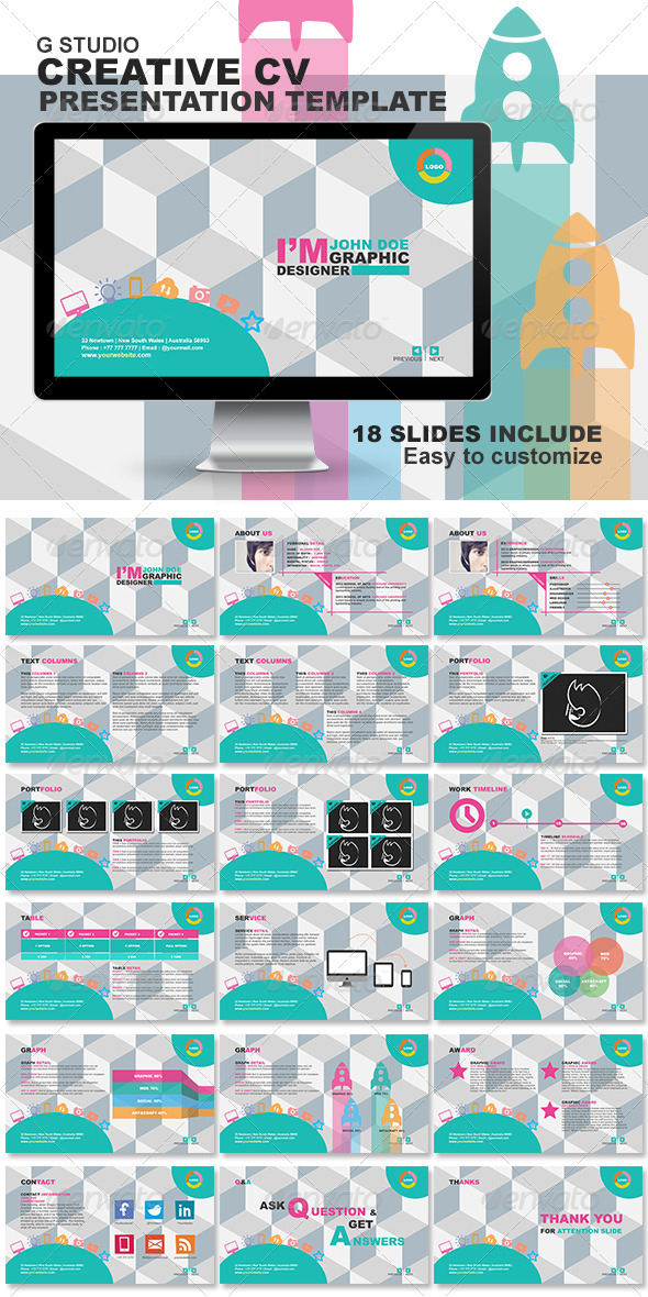 GraphicRiver Gstudio Creative CV Presentation Template 3792432