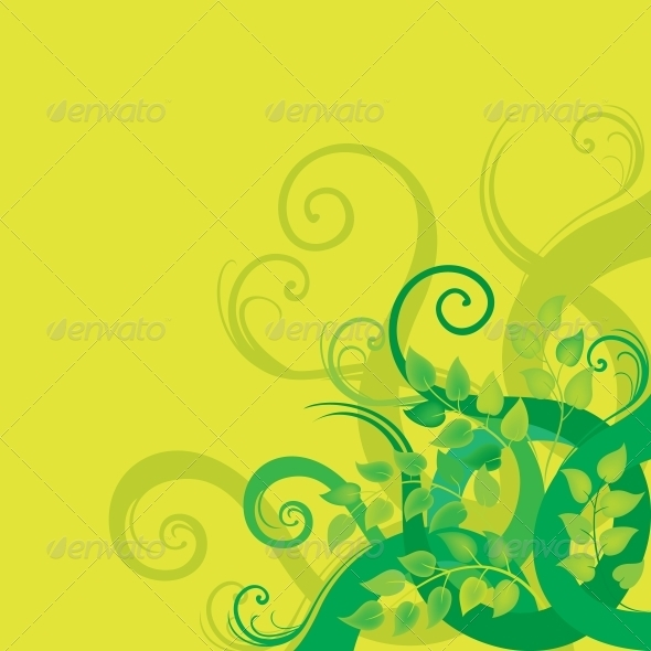 GraphicRiver Green decorative floral background 3792662