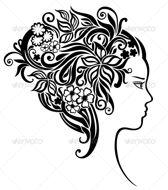 GraphicRiver Girl with a beautiful flowers in her hair 3792664