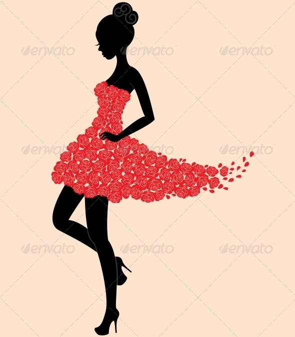 GraphicRiver Dancer girl in dress of roses 3792667