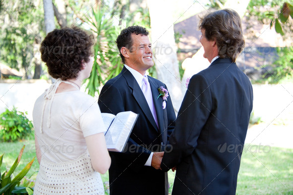 Gay Wedding - Female Minister - Stock Photo - Images