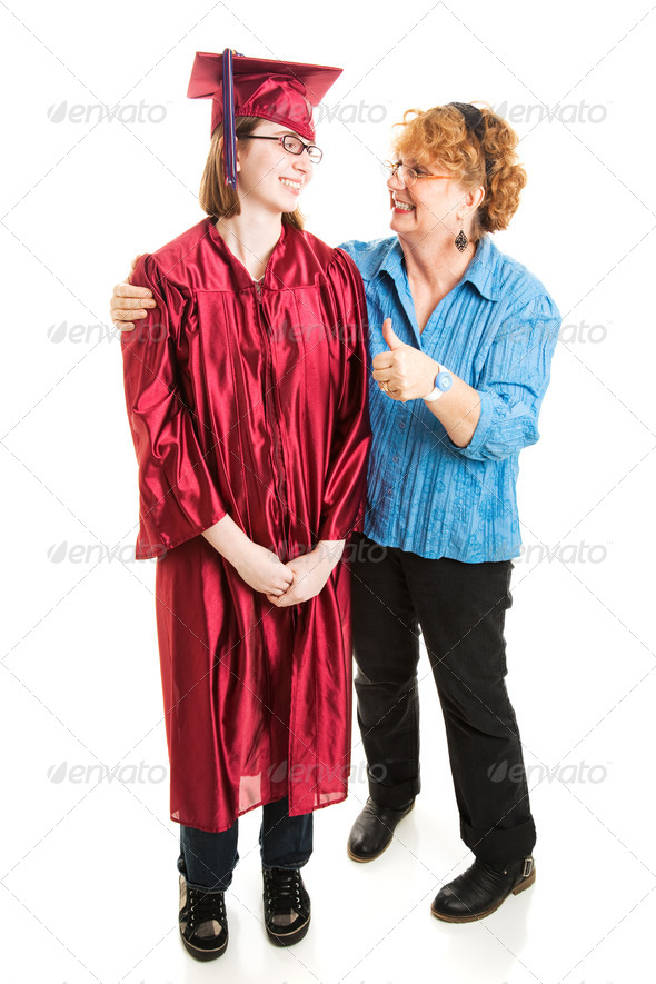 Mom Congratulates Daughter on Graduation - Stock Photo - Images