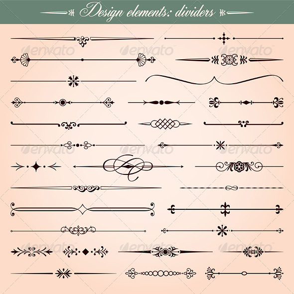GraphicRiver Vector Design Elements Dividers And Dashes 3793074