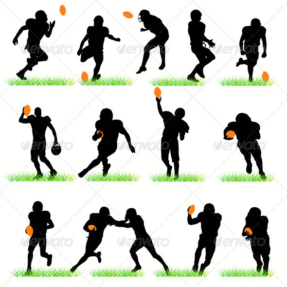 GraphicRiver American Football Players Silhouettes Set 408589