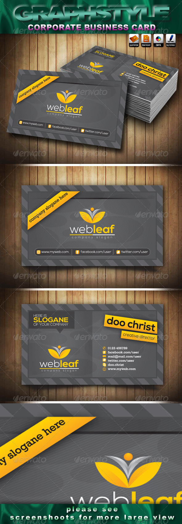 GraphicRiver Webleaf Corporate Business Card 3793711