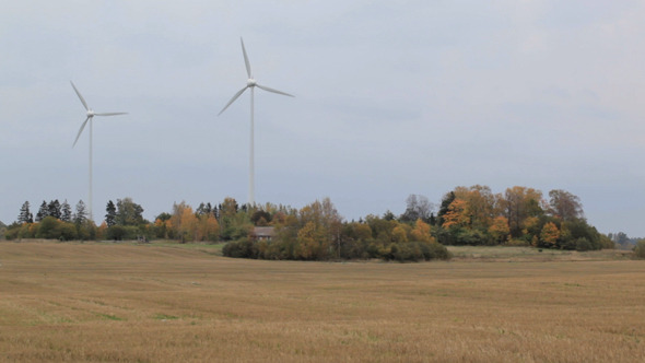 Two Wind Turbines In The Field