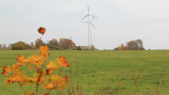 Two Wind Turbines In The Field VideoHive Stock Footage  Nature 3793870