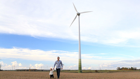 Father And Son Near The Wind Turbine VideoHive Stock Footage  People 3793876